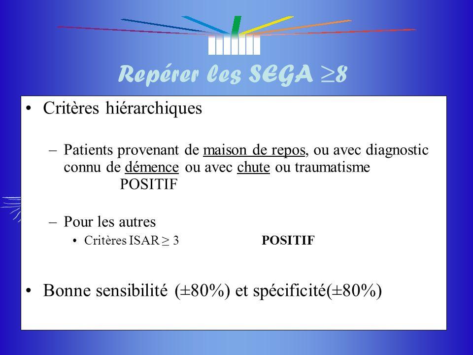 Repérer les SEGA ≥8 Critères hiérarchiques