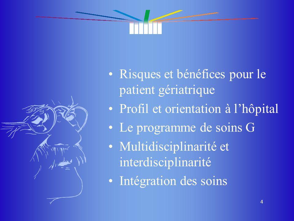 Risques et bénéfices pour le patient gériatrique