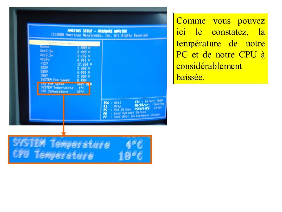 Comme vous pouvez ici le constatez, la température de notre PC et de notre CPU à considérablement baissée.