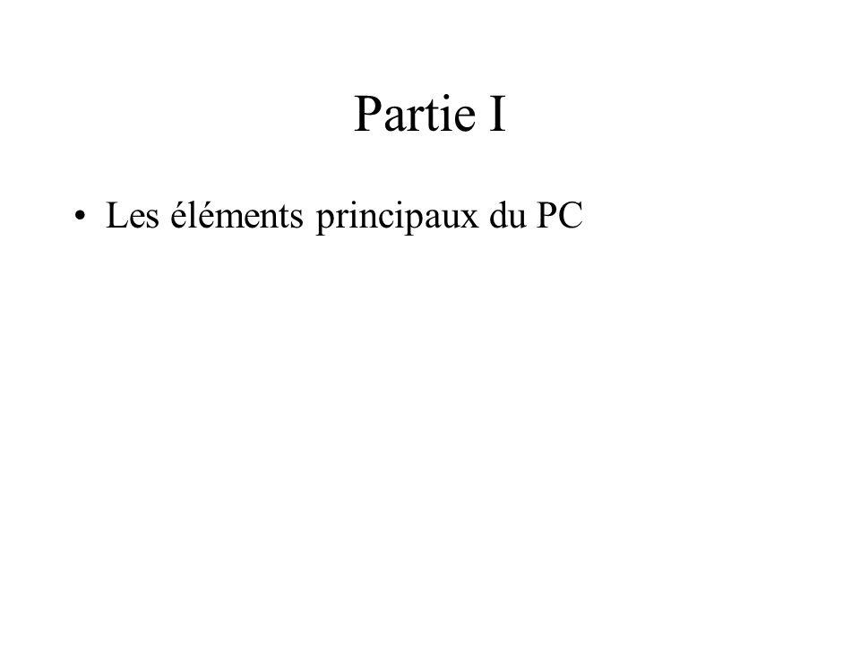 Partie I Les éléments principaux du PC