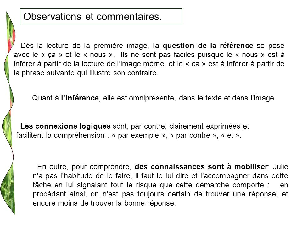 Observations et commentaires.