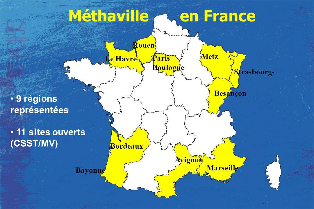 Méthaville en France 9 régions représentées 11 sites ouverts (CSST/MV)