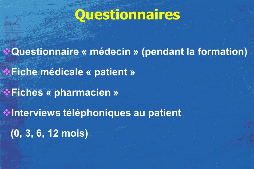 Questionnaires Questionnaire « médecin » (pendant la formation)