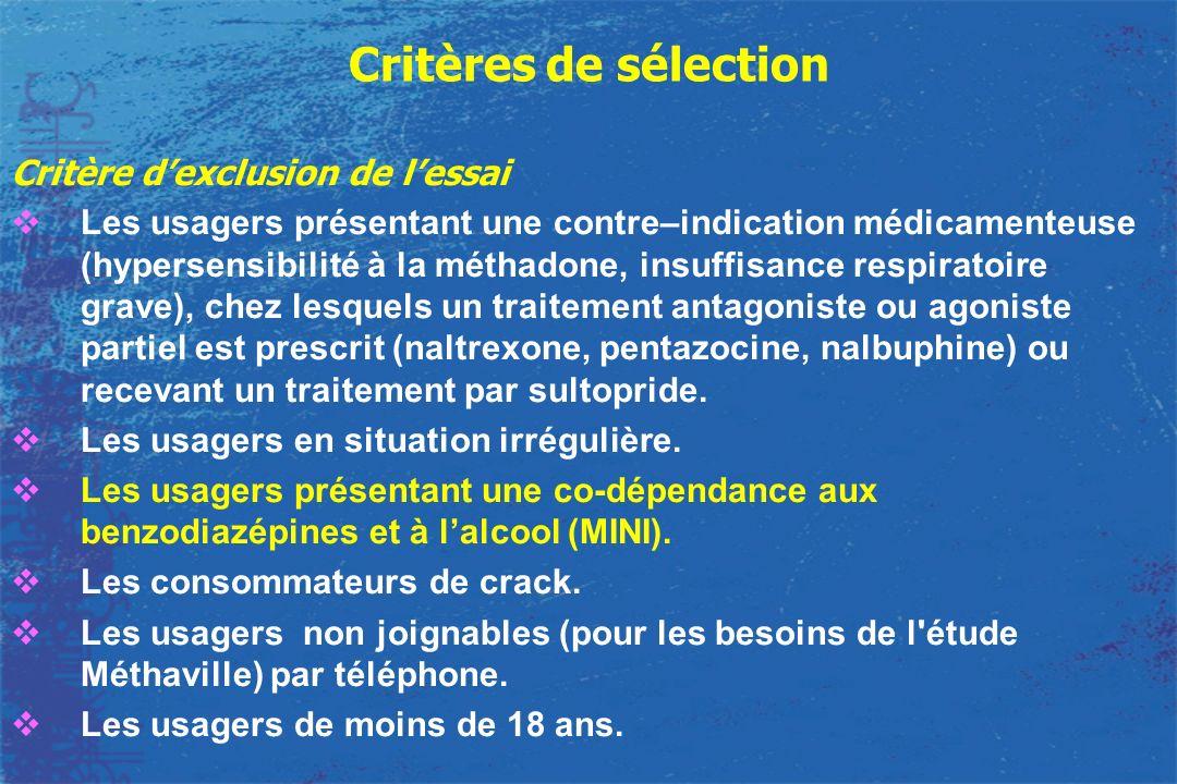 Critères de sélection Critère d'exclusion de l'essai