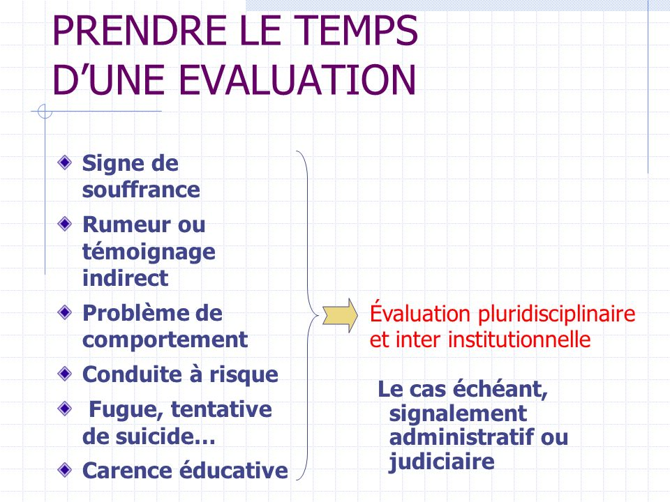 PRENDRE LE TEMPS D'UNE EVALUATION