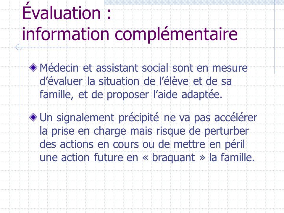 Évaluation : information complémentaire