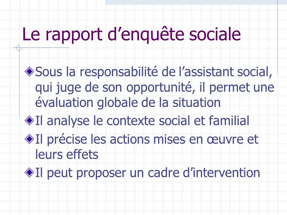 Le rapport d'enquête sociale