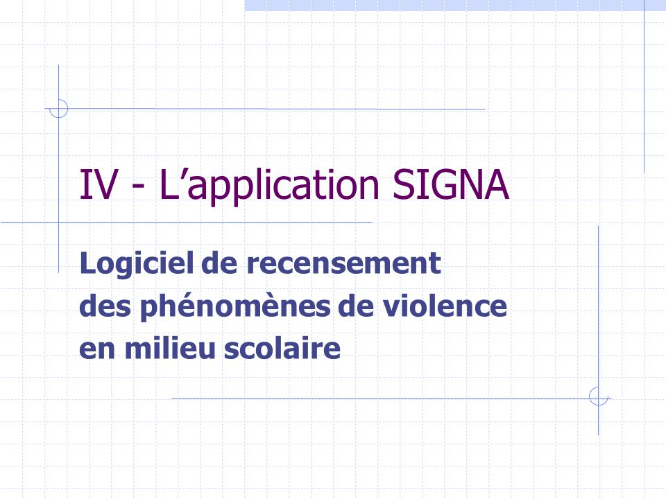 IV - L'application SIGNA