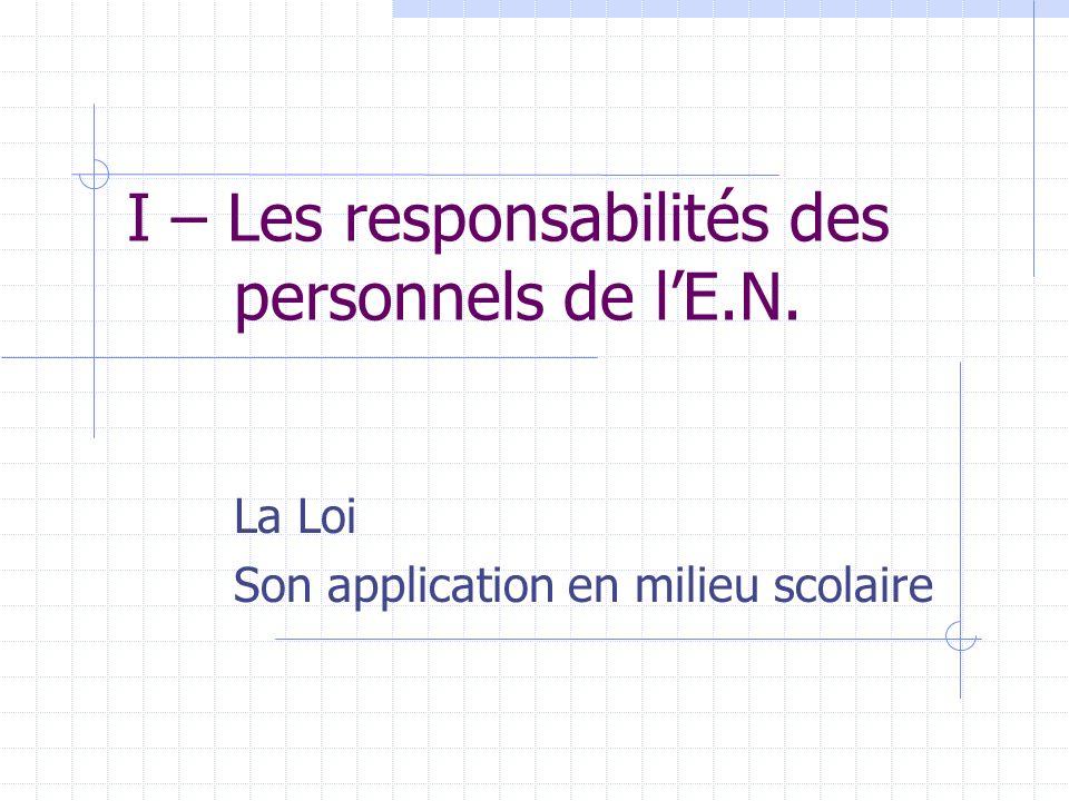 I – Les responsabilités des personnels de l'E.N.