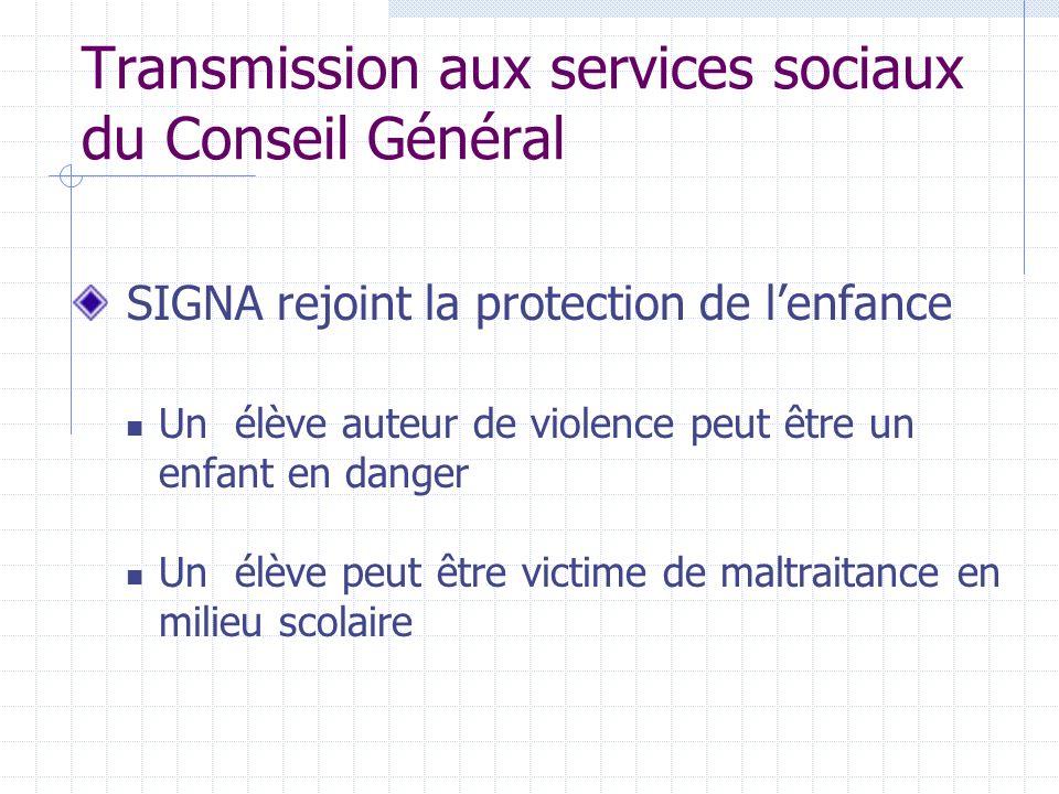 Transmission aux services sociaux du Conseil Général