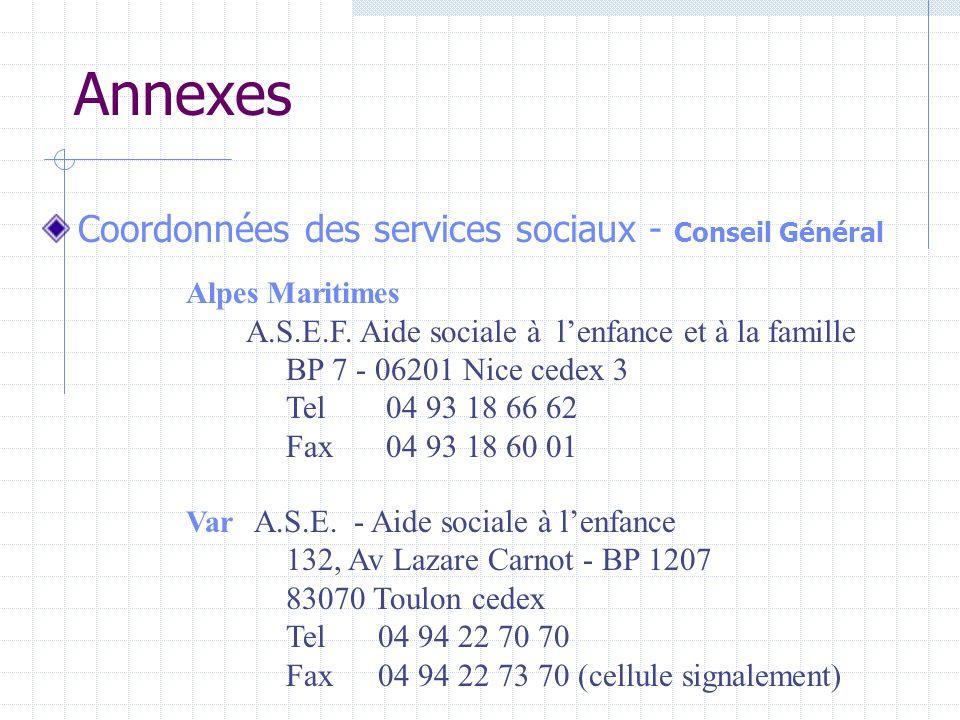 Annexes Coordonnées des services sociaux - Conseil Général