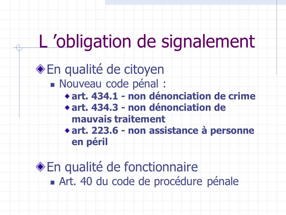 L 'obligation de signalement