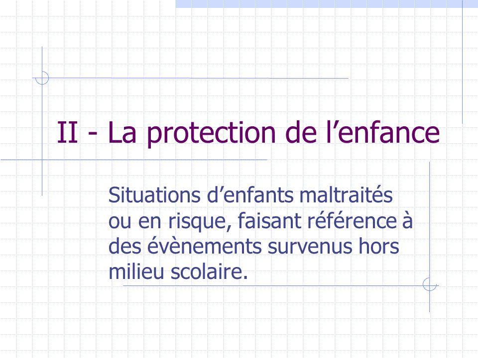 II - La protection de l'enfance