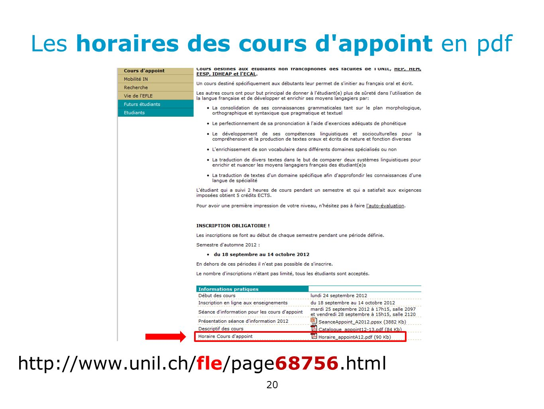 Les horaires des cours d appoint en pdf