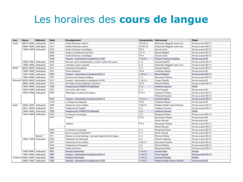 Les horaires des cours de langue
