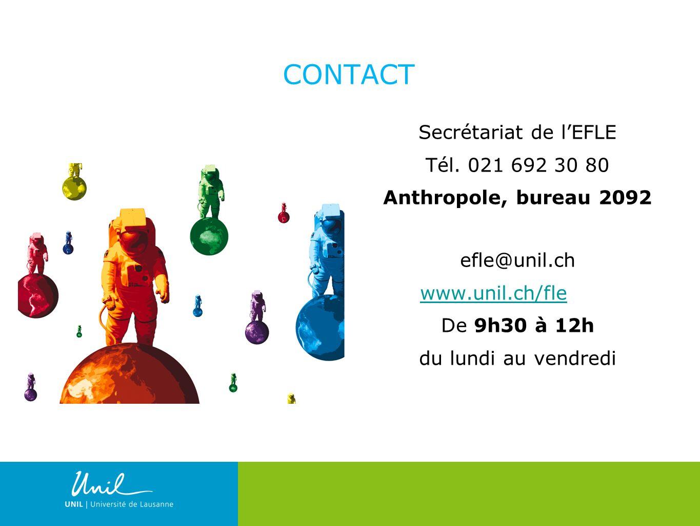 CONTACT Secrétariat de l'EFLE Tél. 021 692 30 80