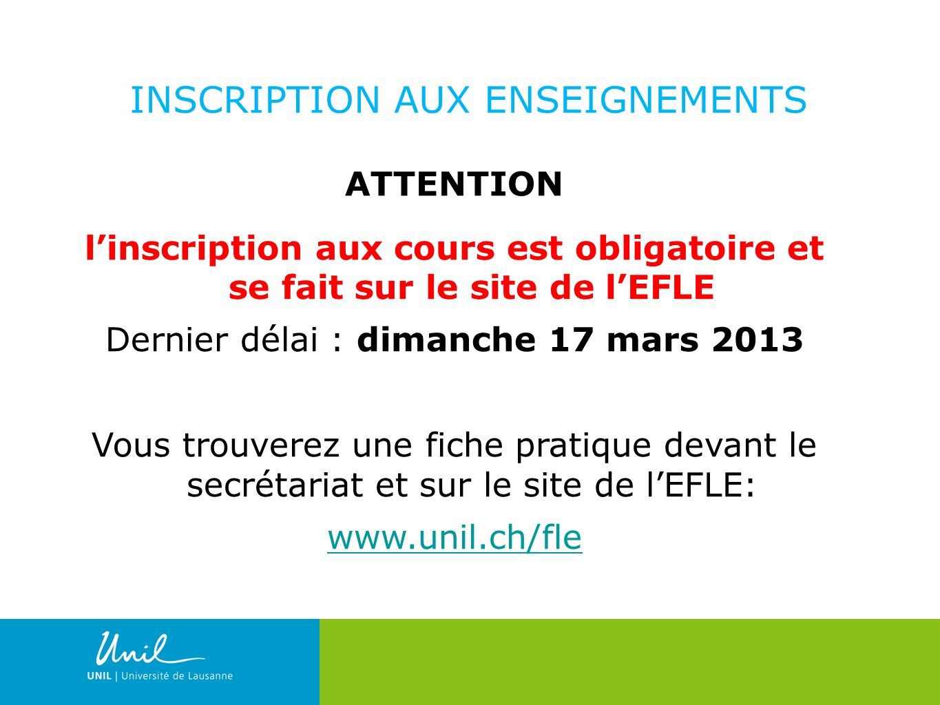 INSCRIPTION AUX ENSEIGNEMENTS