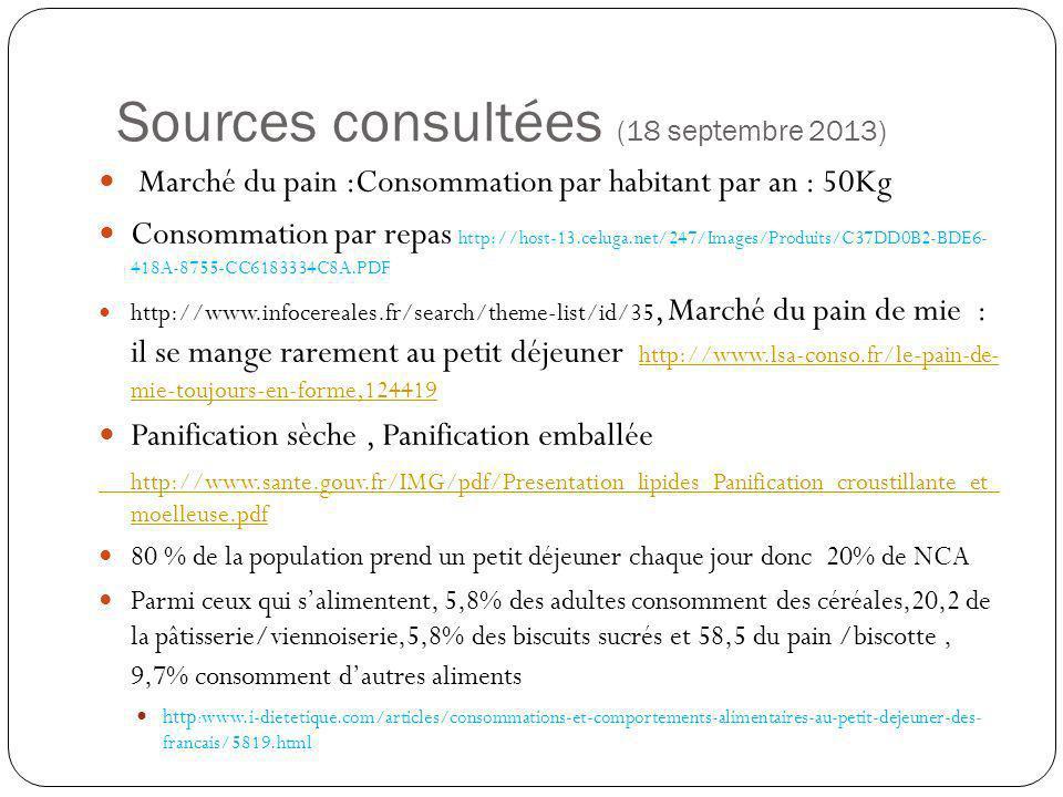 Sources consultées (18 septembre 2013)