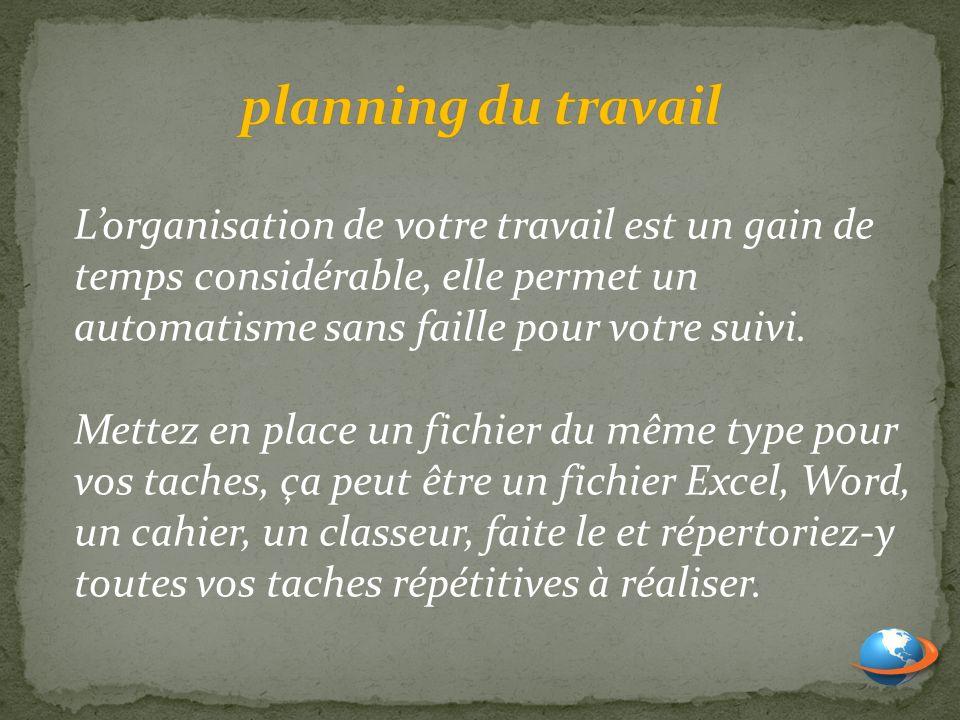 planning du travail L'organisation de votre travail est un gain de temps considérable, elle permet un automatisme sans faille pour votre suivi.