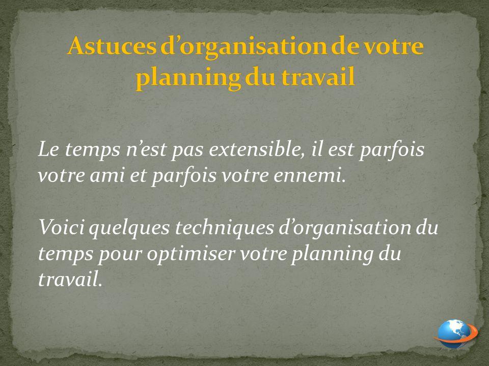 Astuces d'organisation de votre planning du travail