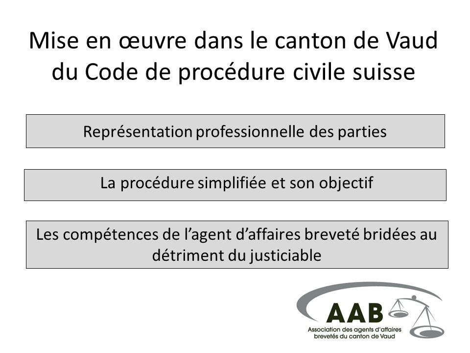 Mise en œuvre dans le canton de Vaud du Code de procédure civile suisse