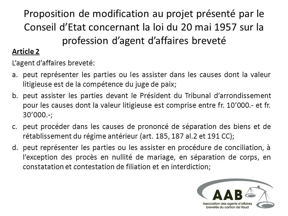 Proposition de modification au projet présenté par le Conseil d'Etat concernant la loi du 20 mai 1957 sur la profession d'agent d'affaires breveté