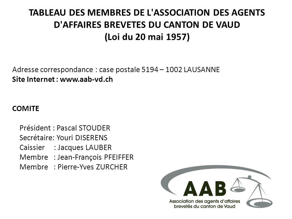 TABLEAU DES MEMBRES DE L ASSOCIATION DES AGENTS