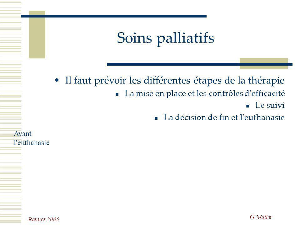 Soins palliatifs Il faut prévoir les différentes étapes de la thérapie