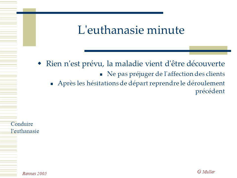L euthanasie minute Rien n est prévu, la maladie vient d être découverte. Ne pas préjuger de l affection des clients.