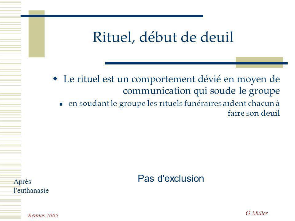 Rituel, début de deuil Le rituel est un comportement dévié en moyen de communication qui soude le groupe.
