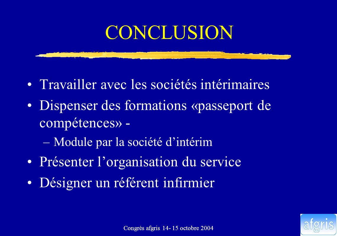 Congrès afgris 14- 15 octobre 2004