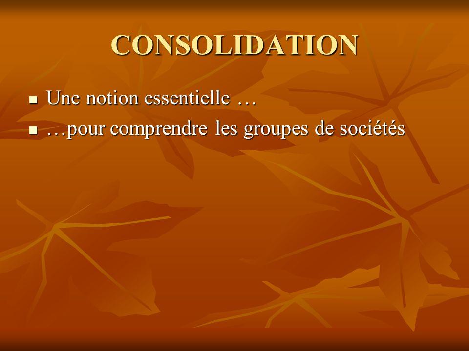 CONSOLIDATION Une notion essentielle …