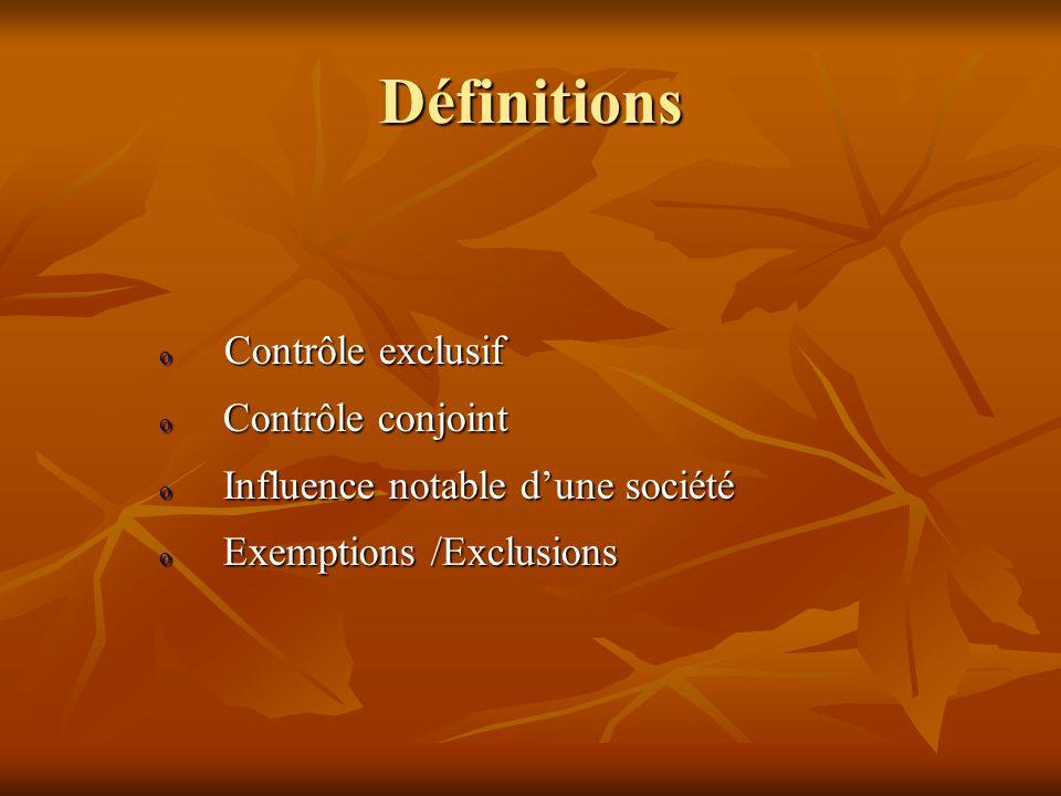 Définitions Contrôle exclusif Contrôle conjoint
