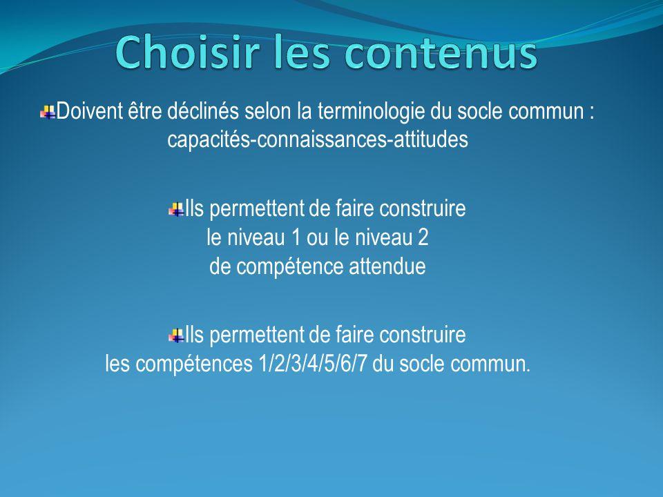 Choisir les contenus Doivent être déclinés selon la terminologie du socle commun : capacités-connaissances-attitudes.