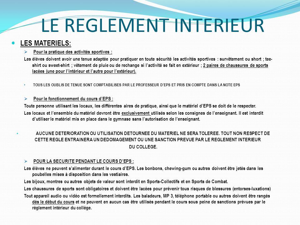 Projet p dagogique ducation physique et sportive coll ge for Le reglement interieur