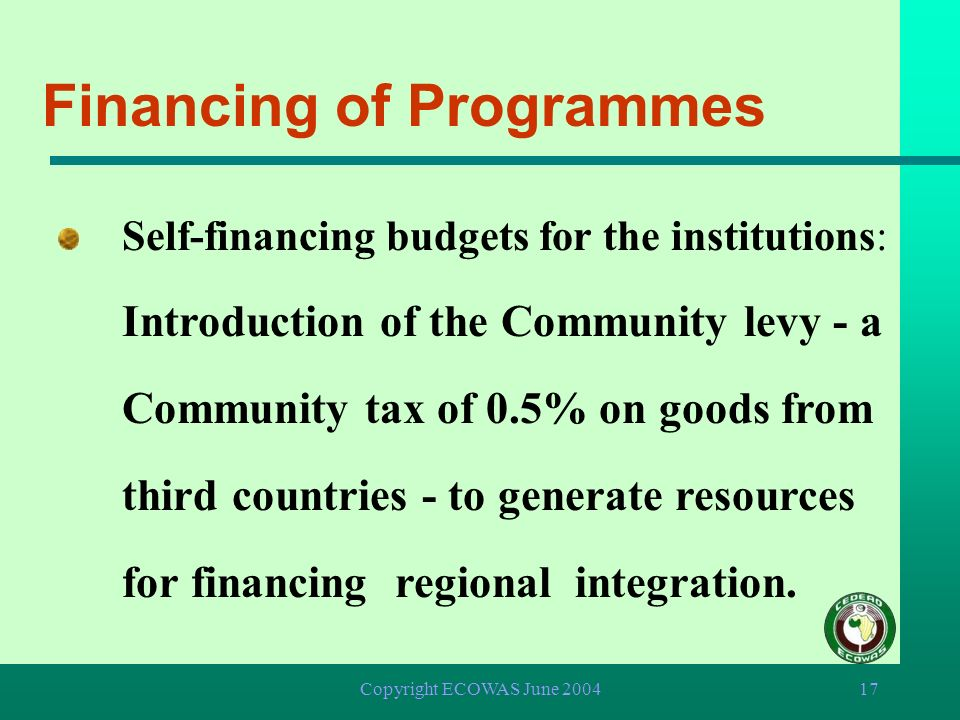 Financing of Programmes