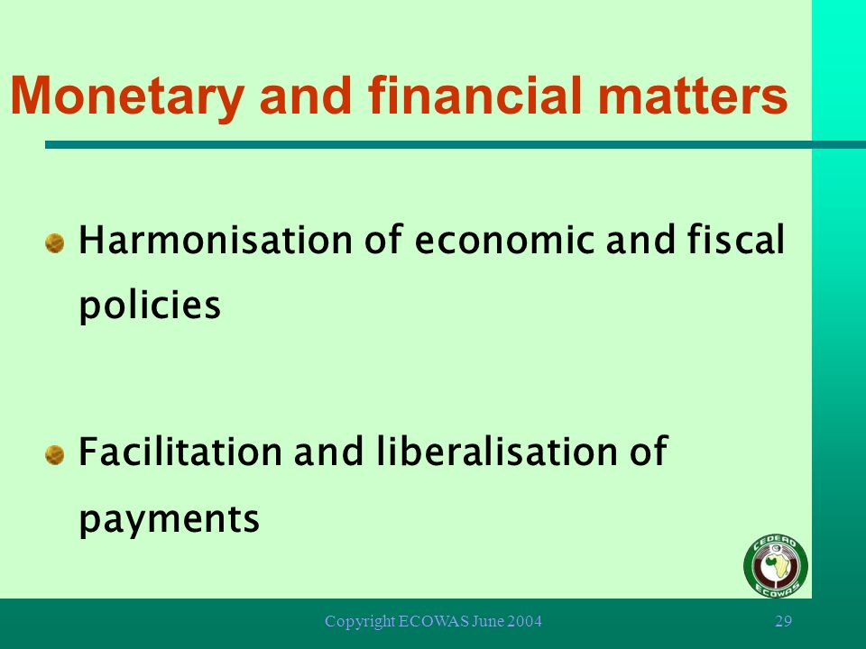 Monetary and financial matters