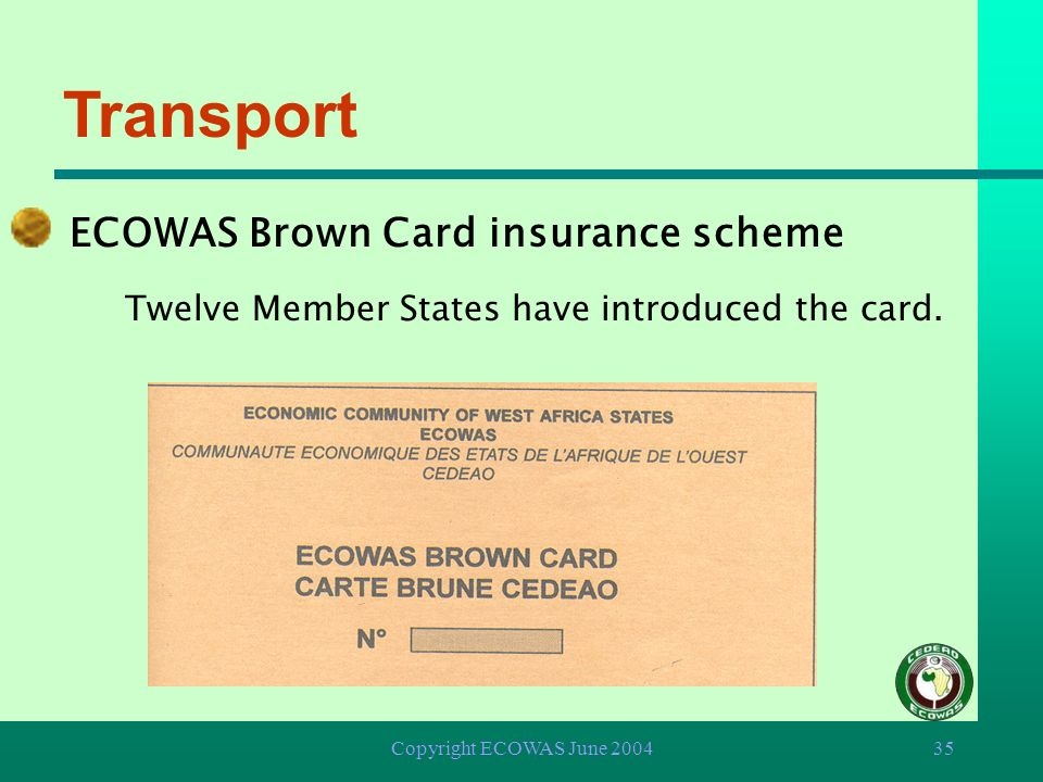 Transport ECOWAS Brown Card insurance scheme