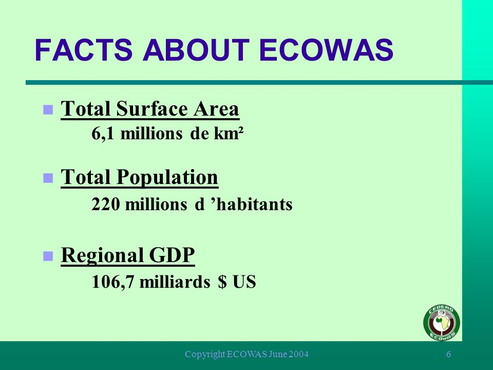 FACTS ABOUT ECOWAS Total Surface Area 6,1 millions de km²