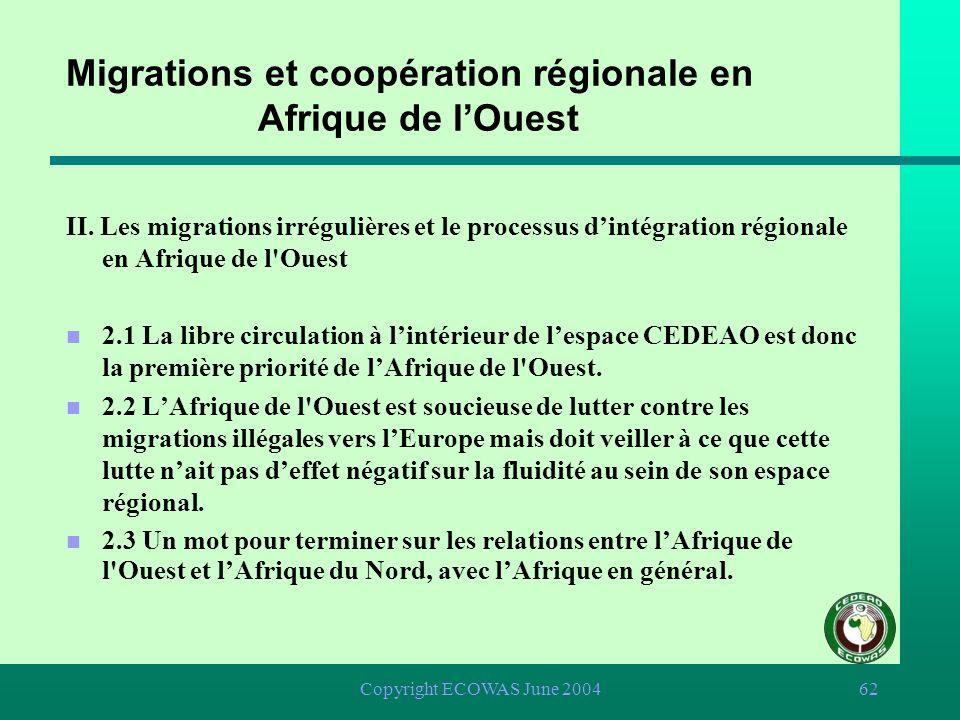 Migrations et coopération régionale en Afrique de l'Ouest