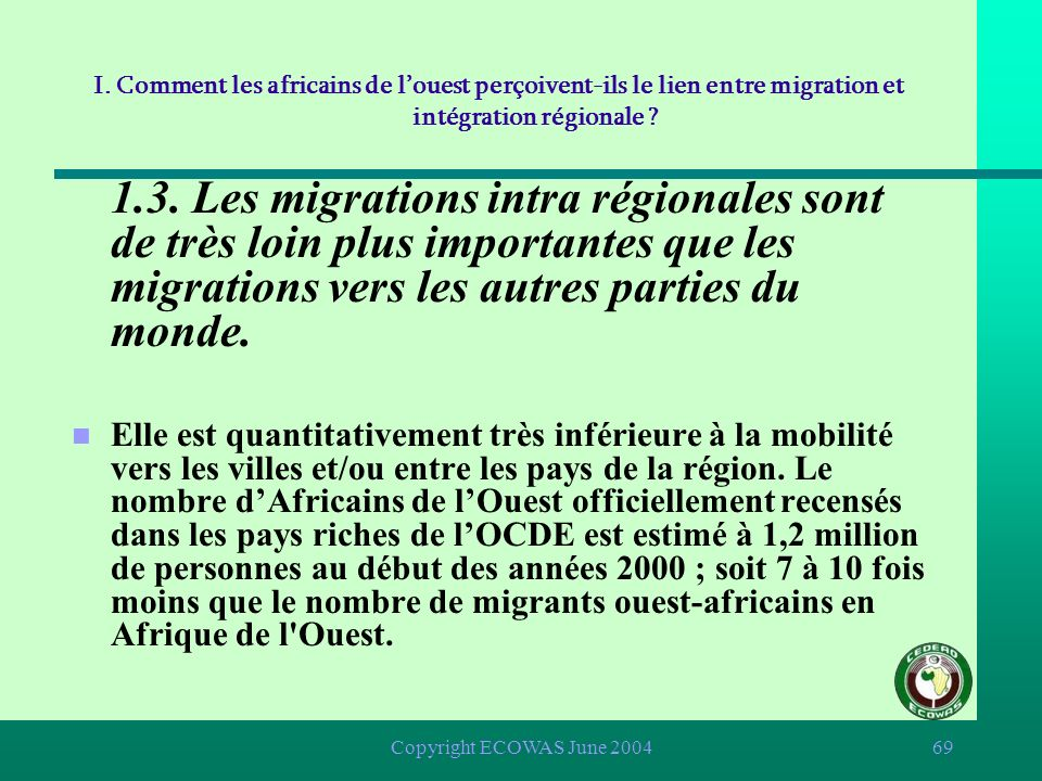 I. Comment les africains de l'ouest perçoivent-ils le lien entre migration et