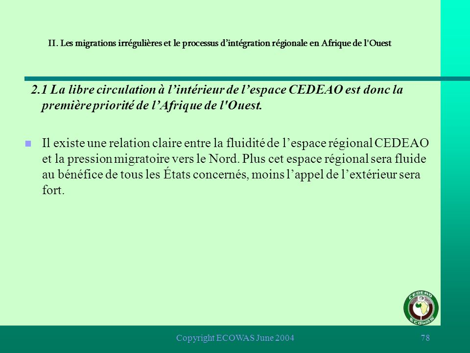 II. Les migrations irrégulières et le processus d'intégration régionale en Afrique de l Ouest