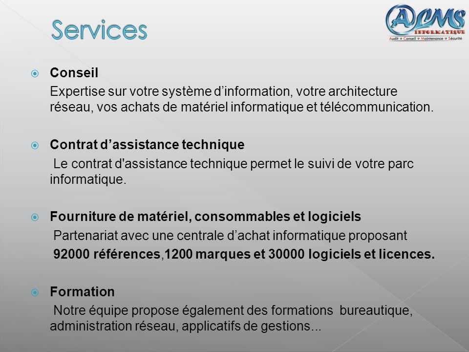 Services Conseil. Expertise sur votre système d'information, votre architecture réseau, vos achats de matériel informatique et télécommunication.