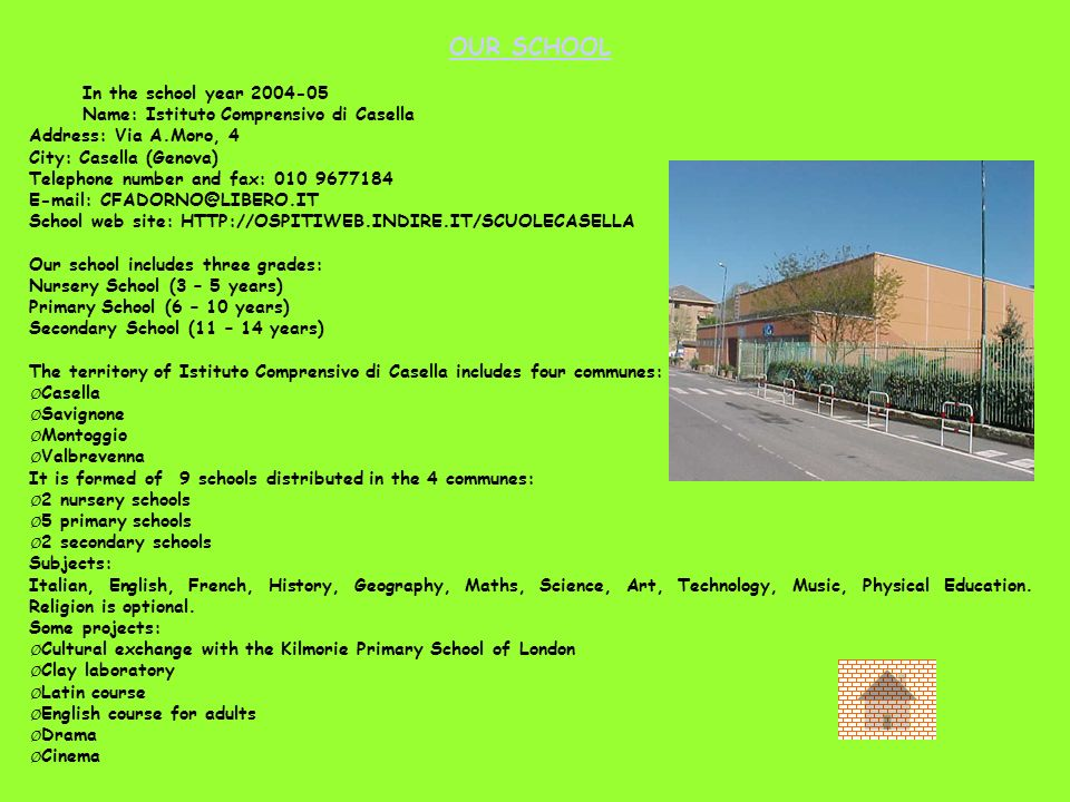 OUR SCHOOL In the school year 2004-05