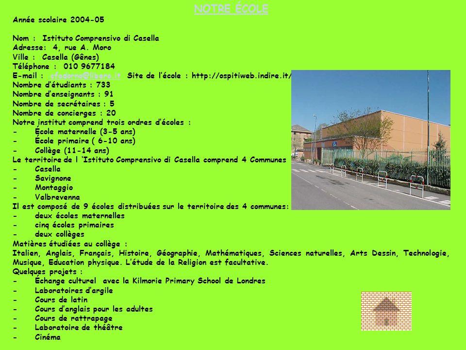 NOTRE ÉCOLE Année scolaire 2004-05