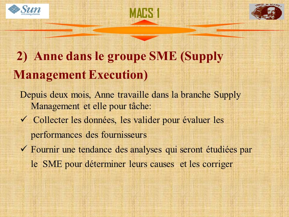 2) Anne dans le groupe SME (Supply Management Execution)