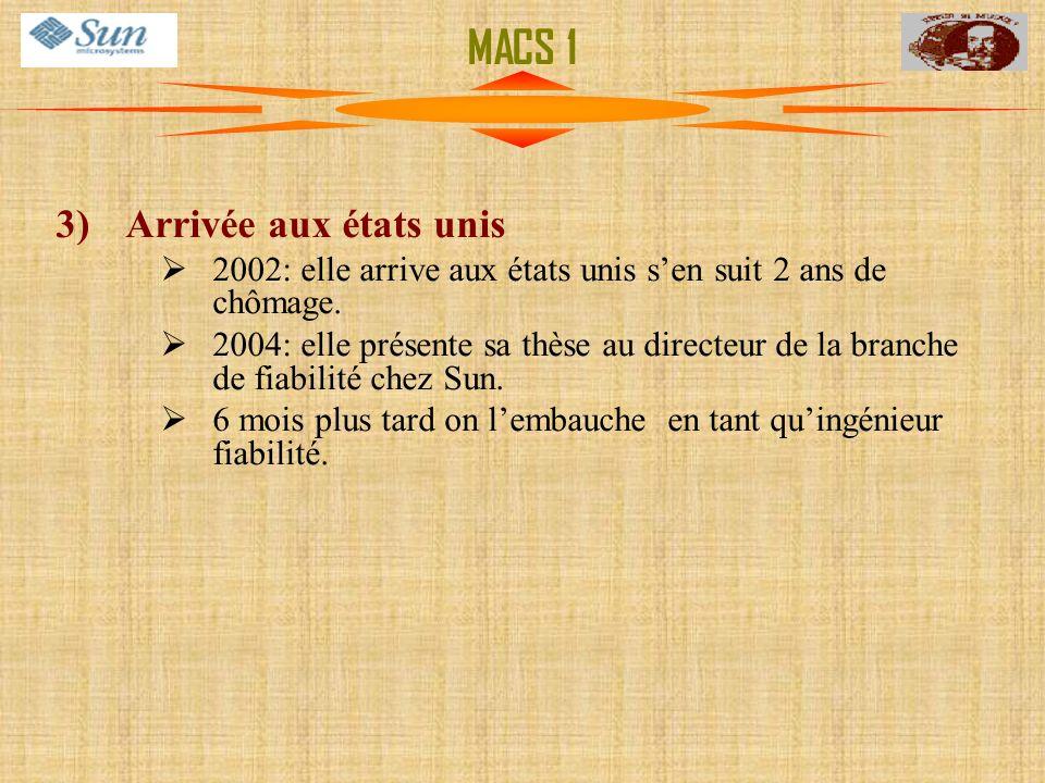 MACS 1 Arrivée aux états unis. 2002: elle arrive aux états unis s'en suit 2 ans de chômage.