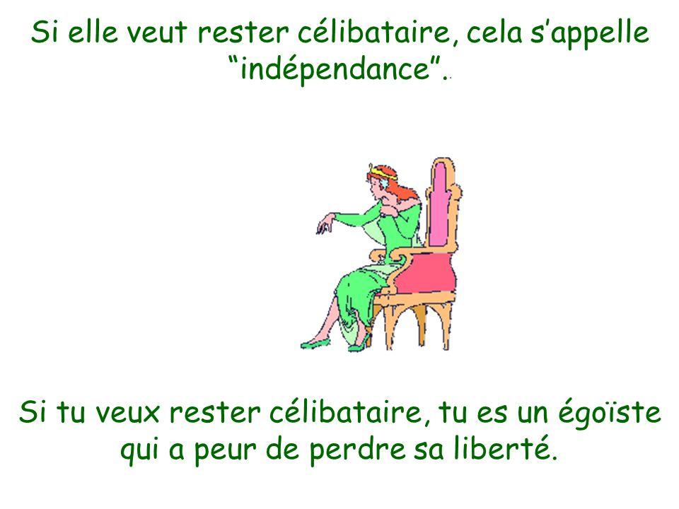 Si elle veut rester célibataire, cela s'appelle indépendance ..