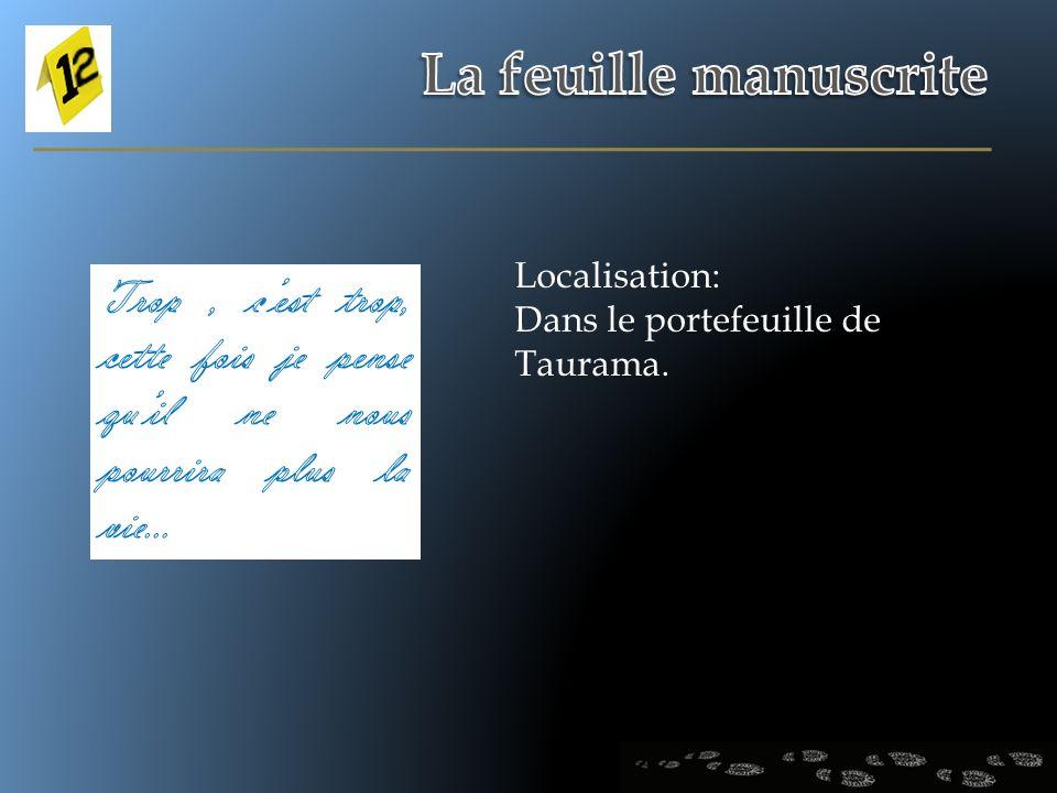 La feuille manuscrite Localisation: Dans le portefeuille de Taurama.