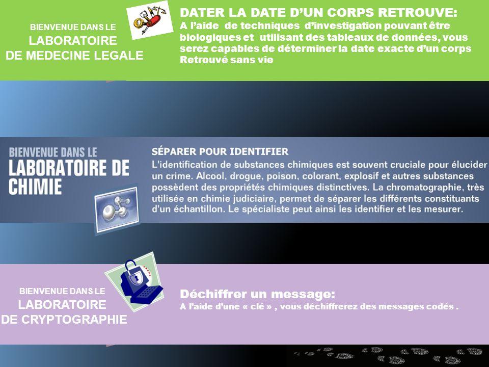 LABORATOIRE DE MEDECINE LEGALE LABORATOIRE DE CRYPTOGRAPHIE